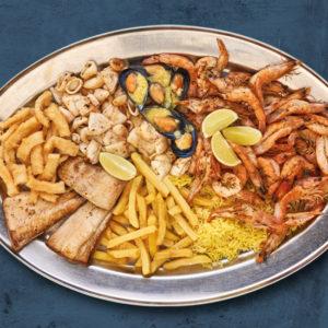 Ocean Basket's Full Deck platter with blue grudge background slider image