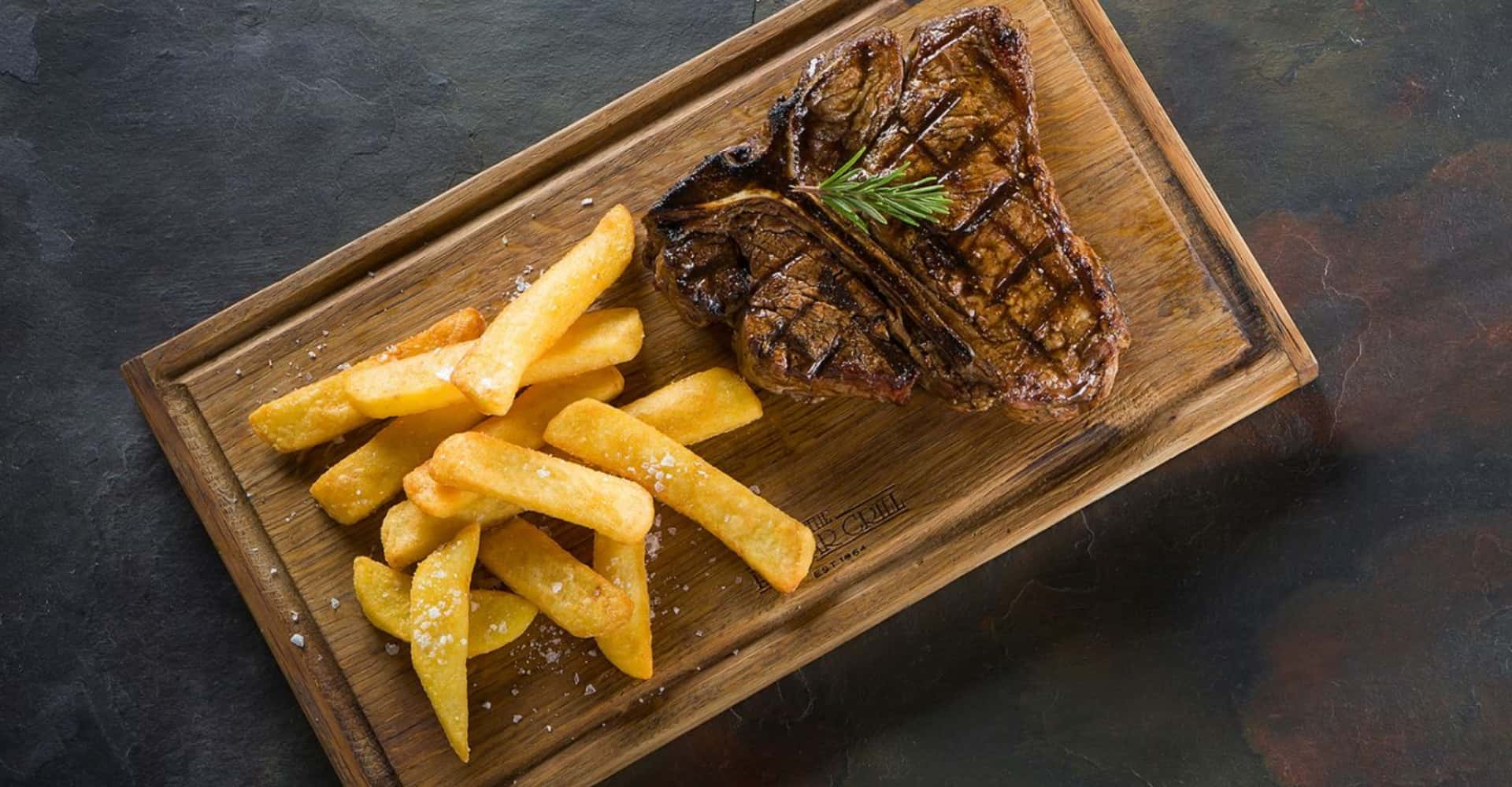 The Hussar Grill Steak and chips