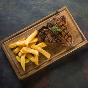 The Hussar Grill steak and chips top view