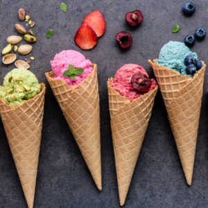 Ice cream with different flavours