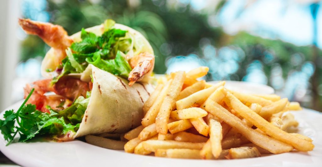 Prawn wrap and chips menu item