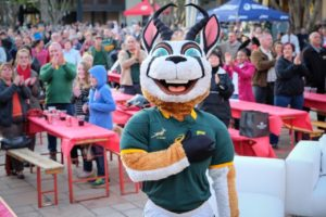 Springbok mascot at the Silverstar Casino's BokTown event