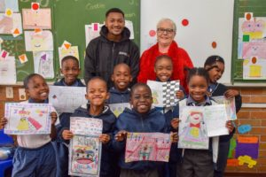 Learners showcasing their art at the Hartzstraat Primary