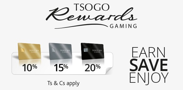 Tsogo Sun Gaming Rewards banner with all the cards and discounts