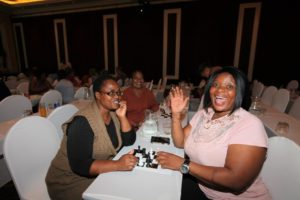 Ladies having fun at the Silverstar Educator Buzz Chess Tournament