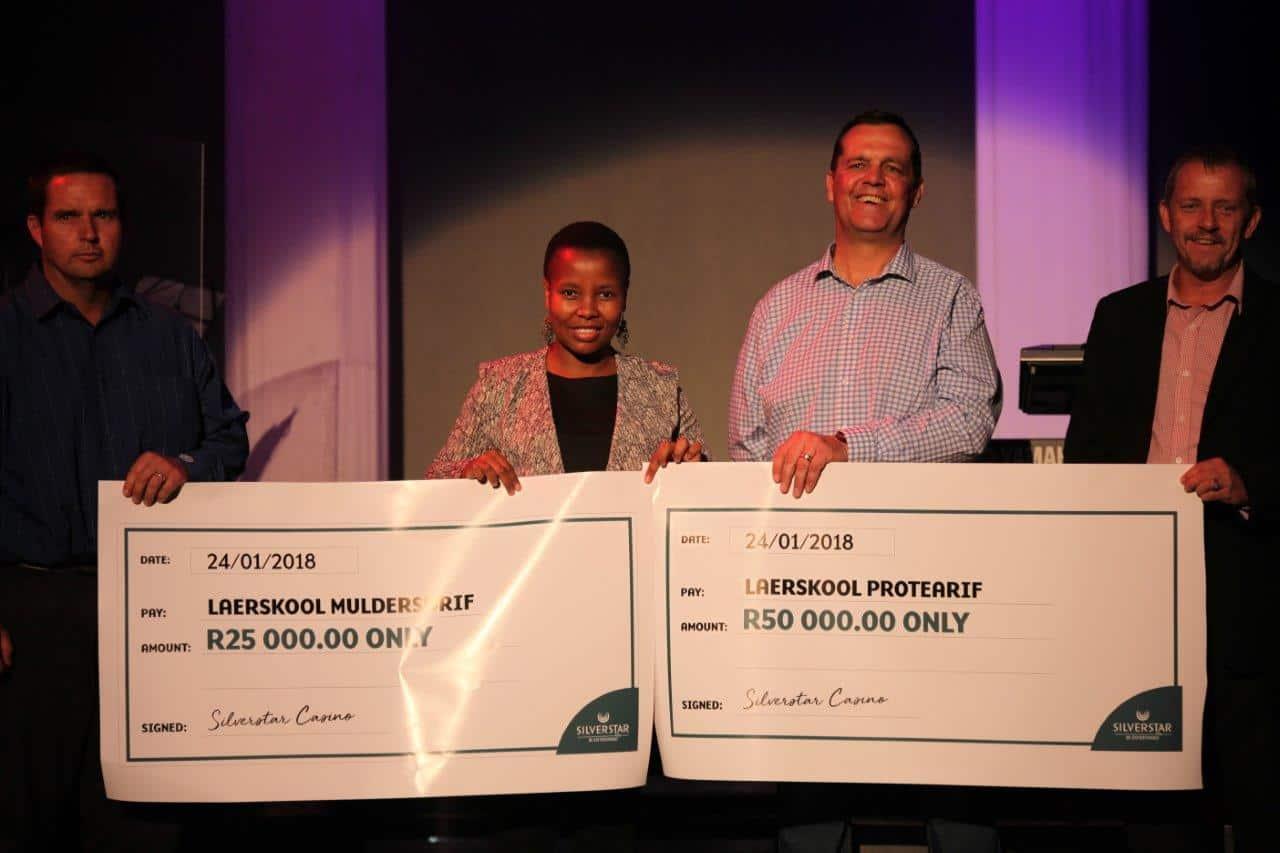 Silverstar casino's Laerskool Protearif School tornado donation