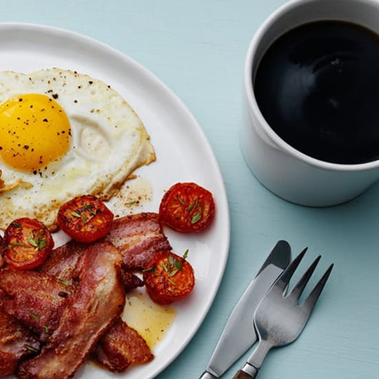 Vigour & Verve Express Breakfast Special with coffee and egg, bacon & tomatoes